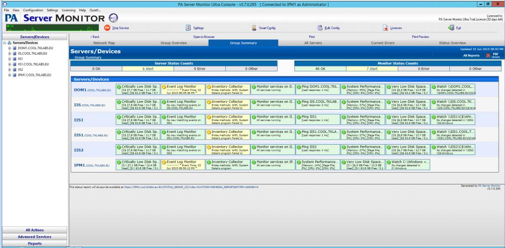 PA Server Monitor interface