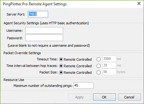 PingPlotter Pro Remote Agent Settings