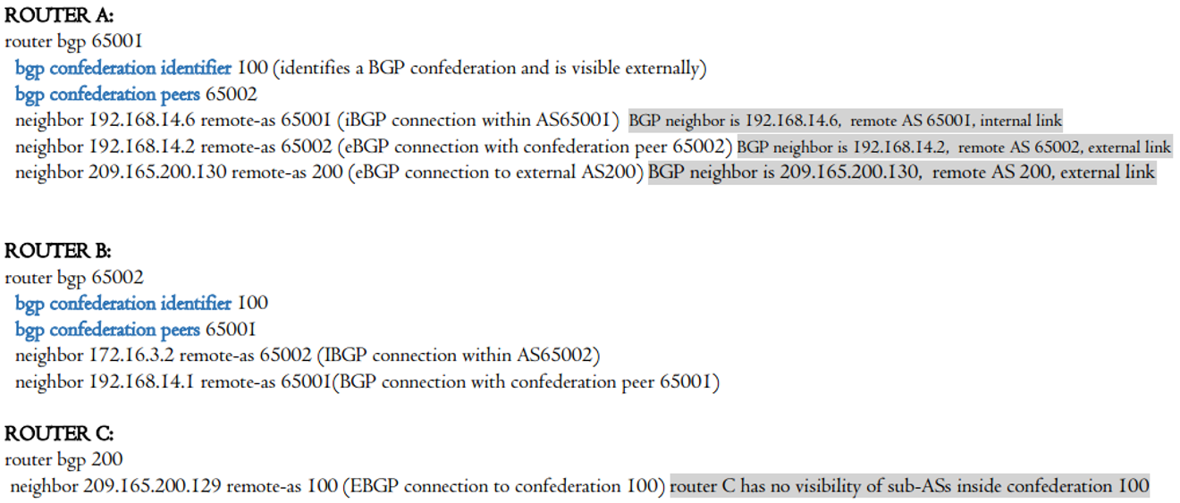 Configuring BGP Confederation 100