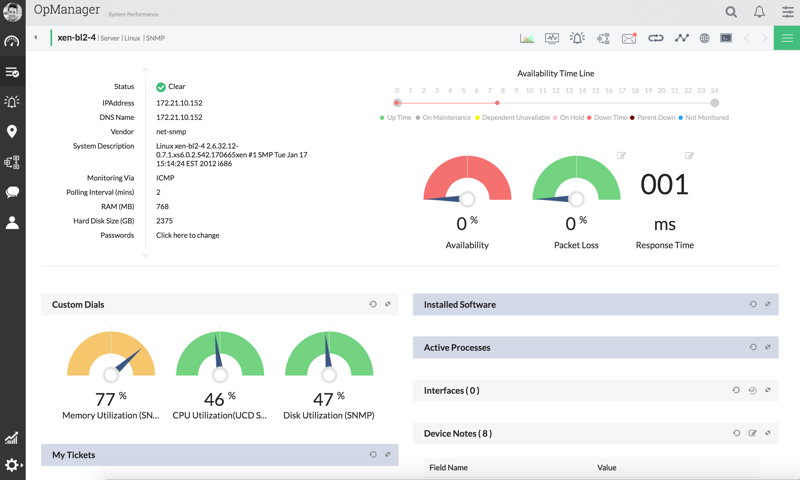 OpManager server monitoring