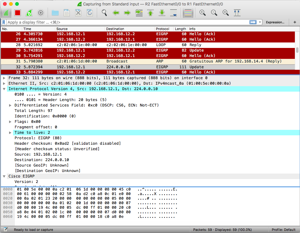 Wireshark Screenshot. Router Freak