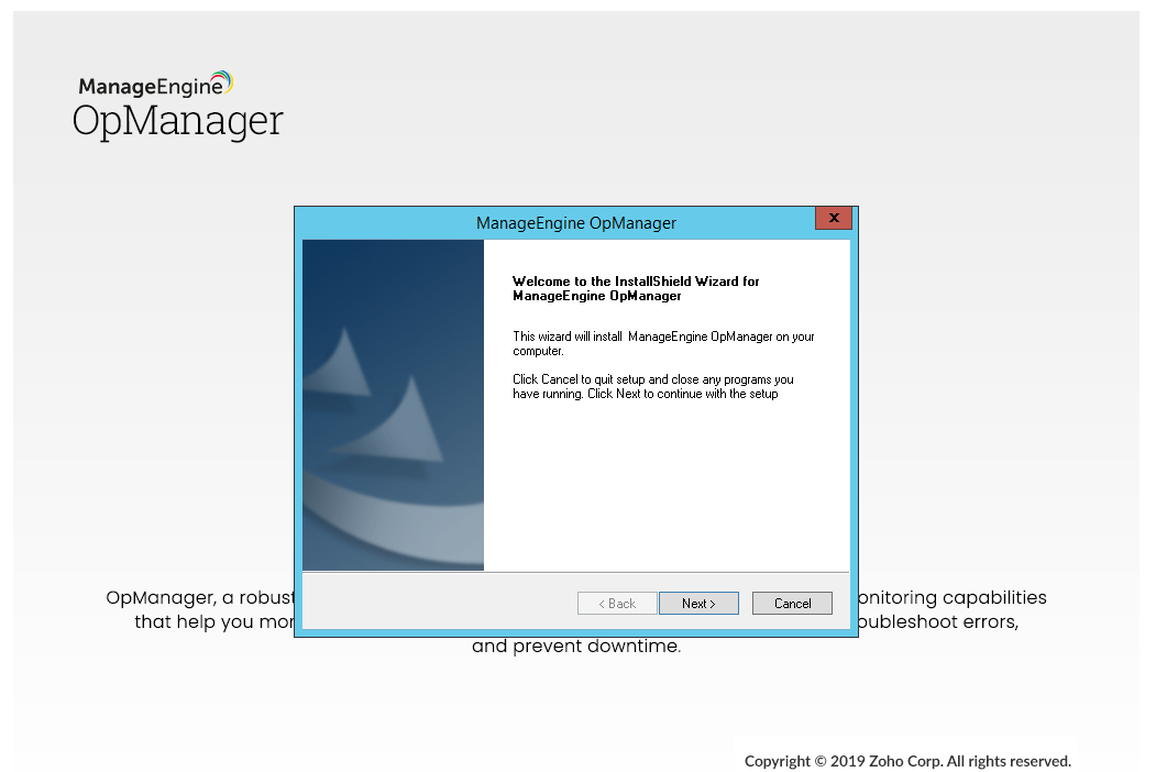 opmanager installation